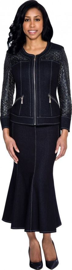Size 12 Navy Devine Sport DS51152 Womens Denim Suit with Zip Jacket