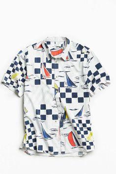 UO Yacht Race Short Sleeve Button-Down Shirt