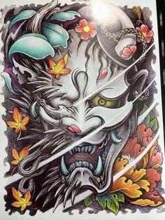Dragon mask demon m? Tatoo Art, Body Art Tattoos, Print Tattoos, Sleeve Tattoos, Hannya Mask Tattoo, Hanya Tattoo, Tatoo Designs, Japanese Tattoo Designs, Asian Tattoos