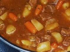 Beef Stew. Only thing I changed was that I cooked mine in the crockpot all day.