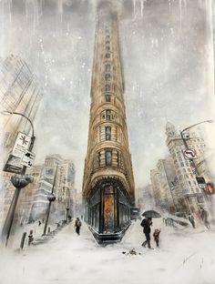 Landschaftsmalerei, #Flatiron, #Newyork, #Broadway, #Acrylfarbe, #ölfarbe auf Leinwand, Unikat, modern Kunst, #gebäude #building modern art, contemporary art, acrylic, oil on canvas, landscape, #winter, #snow, #Schnee, artforsale, Flatiron Building, Winter Scenery, Flat Iron, Art Music, Art And Architecture, Empire State, Hdr, New York City, Cities