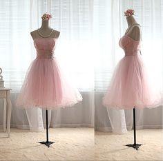 Blush Pink Tulle Bridesmaid Dress Princess TUTU Knee by wonderxue, $80.00.... without straps or halter