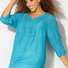 So Pretty! Crochet Crinkle Popover Tunic-Plus Size Tunic-Avenue