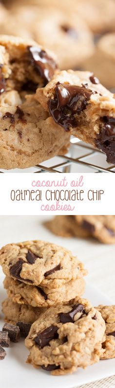 Coconut Oil Oatmeal Chocolate Chip Cookies – dense and moist and chewy and loaded with flavour.