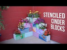 Make your own inexpensive, colorful, modern and fully customizable DIY outdoor planter using cinder blocks, stencils, paint and plants. Outdoor Crafts, Outdoor Art, Diy Planters, Garden Planters, Garden Crafts, Garden Projects, Backyard Projects, Stencil Diy, Stencils