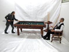 Playscale Pool Table Barbie Furniture, Dollhouse Furniture, Furniture Plans, Wooden Furniture, Wooden Couch, Wooden Table And Chairs, Gi Joe, Billiard Accessories