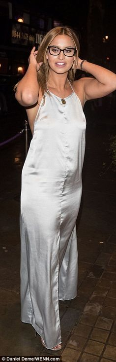 Ferne McCann flashes serious side-boob at Specsavers' bash Ferne Mccann, Silk Slip, Floor Length Dresses, In The Flesh, Silk Dress, Boobs, Girls, Party, How To Wear