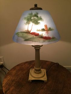 Gentil Antique/Vintage Reverse Hand Painted Lamp Shade Signed Classique Pairpoint  Era