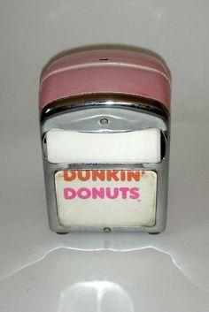 RARE Vintage 1970s Dunkin' Donuts Napkin Holder Dispenser Pink Mister Donuts, Vintage Restaurant, Donut Shop, Dunkin Donuts Coffee, Silver Metal, Doughnuts, Rhode Island, Vintage Advertisements, 1970s