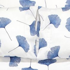 Marimekko White / Blue Ginkgo Sheet Set - Click to enlarge