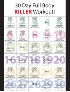 "prettygirls-fitness: Day Full Body Killer Workout"" TIP: for better & quicker results, before you start the workout, do min of cardio, your body will start to burn fat instead of just. Full Body Workouts, Killer Workouts, Full Body Workout Plan, At Home Workout Plan, Cross Fit Workouts, Daily Exercise Plan, Beach Body Workouts, Daily Workout Plans, Good Workouts"