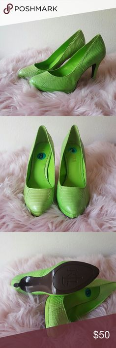 Lauren Ralph Lauren Lime Green heels Brand new without box, snake print leather. The shoe is called KAILEE. Lauren Ralph Lauren Shoes Heels