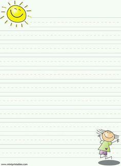 Kindergarten Writing Paper Printable Luxury Free Printable Writing Pages for Kids Kindergarten Writing, Kids Writing, Writing Activities, Printable Lined Paper, Free Printable Stationery, Kids Stationery, Handwriting Practice Sheets, Lined Writing Paper, Writing Papers