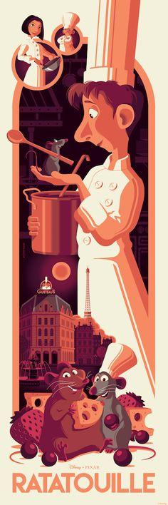 "Cyclops Print Works Print # - Ratatouille ""Midnight in Paris"" Edition by Tom Whalen Disney Pixar, Disney Animation, Disney Fan Art, Disney And Dreamworks, Disney Magic, Walt Disney, Animation Movies, Ratatouille Disney, Ratatouille 2007"