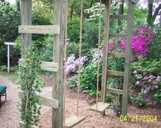 would not do the ladders on the side but diagonal cross pieces for a trellis look - and to keep the kids from wanting to climb up!