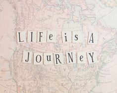 Journey Wanderlust Life is a Journey Pastel Pink Coral Salmon Travel Soft and Dreamy Vintage Style Retro, 8 x 10 Fine Art Print