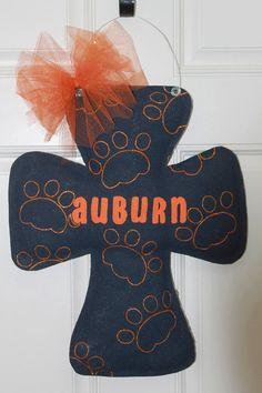 Auburn Cross Burlap Door Hanger by TrucksCreativeCrafts on Etsy, $25.00