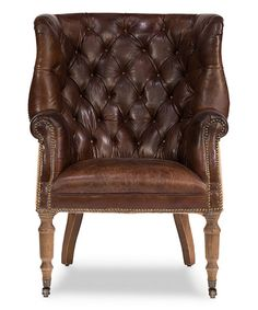 This Brown Tufted Wingback Armchair is perfect! #zulilyfinds