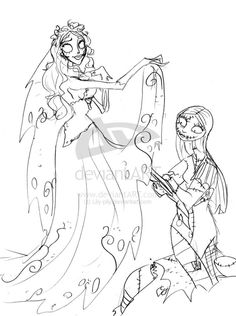 Nightmare Before Christmas Jack And Sally Coloring Pages Coloring And Drawing
