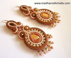 Swarovski Soutache Earrings handmade in Italy by Martha Mollichella - Lacasinaditobia Lacasinaditobia