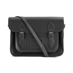 The Cambridge Satchel Company 13 Inch Classic Leather Satchel - Black ($165) ❤ liked on Polyvore featuring bags, handbags, satchel purse, leather flap handbag, black satchel, genuine leather satchel handbags and black leather handbags