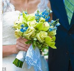 Bouquet idea - (to bring in teal) lime green roses and cymbidium orchids (take out blue flowers) can add white flowers but teal wrap around stems