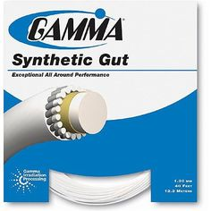Gamma Synthetic Gut 17G Tennis String Color: White by Gamma. $3.50. Benefits: Exceptional all around performance.Recommended For: Outstanding playability with durability.Composition: Nylon 6 core; nylon mono-filament wraps; nylon coating; Gamma irradiation processing.Length: 40ft. (12.2m)Playability: 7.5Durability: 7Overall Rating: 7.25String Tension: 40-65lbs (18-30kg)(All colors may not be available in stock.)