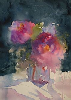 One of the best wet in wet watercolor artists working imo....Peonies and the moon by Sarah Yeoman Watercolor ~ 21 x 14