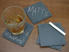 Keep Track Of Your Drink With Chalkboard Slate Coasters via @Incredible Things