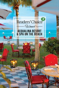 Acqualina Resort & Spa on the Beach is our readers' runner up favorite for Best Beach Resort. This lavish 98-room Mediterranean-style resort is located within a 51-story tower on four-and-a-half acres fronted by 400 feet of white sand. Rooms and suites have been decorated in a sophisticated style that combines traditional and contemporary elements. Acqualina has three oceanfront restaurants.