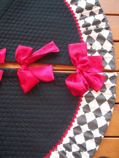 Stunning Black White and Red Christmas Tree Skirt 2013 by kdcurb, $175.00