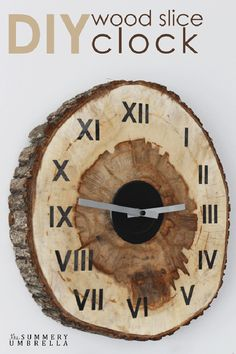 One more idea for using slice of wood for making a wall clock. Here wood slice isn't used for decorating simple clock. The clock is made on wood slice.