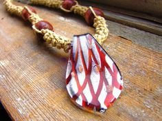 Criss Cross  Thick Hemp Necklace with Glass by ecocreations