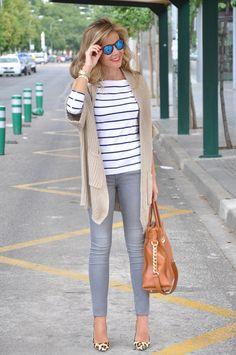 Stripes t-shirts, cardigan, animal print heels and Michael Kors bag
