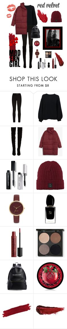 """Red"" by jane2008 ❤ liked on Polyvore featuring Paige Denim, Helmut Lang, Christian Louboutin, Monki, Bobbi Brown Cosmetics, Nine West, Giorgio Armani, Balenciaga and By Terry"
