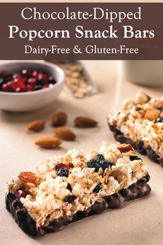 Popcorn Snack Bars Recipe (Dairy-Free, Gluten-Free, Allergy Options) Dairy Free Snacks, Gluten Free Cookies, Allergy Free Recipes, Snack Recipes, Top Food Allergies, Cake Batter Protein, Popcorn Snacks, Dried Blueberries, Snack Bar