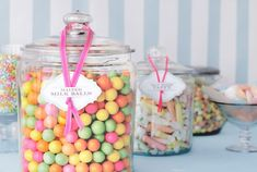 Mason jars baby shower favors candy jars for baby shower favors cute Candy Jar Labels, Glass Candy Jars, Glass Apothecary Jars, Mason Jars, Glass Canisters, Baby Shower Food For Girl, Baby Shower Parties, Baby Shower Themes, Shower Ideas