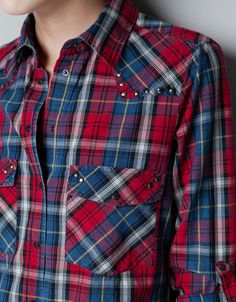 CHECKED SHIRT WITH STUDDED YOKE - - ZARA United States