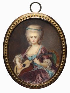 Portrait of a Woman with a Guitar, called Louise D'Aumont, Mazarin, Duchesse d'Aumont, by Antoine Vestier (French, 1740-1824) | Cleveland Museum of Art