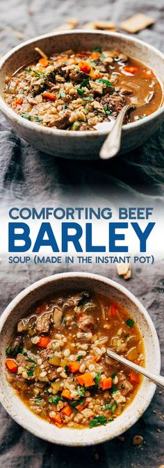 Instant Pot (Pressure Cooker) Beef Barley Soup - A simple, healthy, and flavorful soup that tastes like you slow-simmered it all day long! Perfect for fall! #beef #beefbarleysoup #beefvegetablesoup #instantpot | Littlespicejar.com