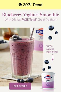 Breakfast Smoothies, Healthy Smoothies, Healthy Drinks, Healthy Snacks, Breakfast Recipes, Blueberry Yoghurt Smoothie, Ginger Smoothie, Protein Shake Recipes, Smoothie Recipes
