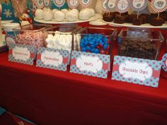 Candy bar at a Winter Wonderland party.  See more party ideas at CatchMyParty.com.  #winterwonderlandpartyideas