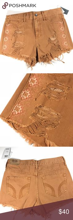 """Hollister • High Rise Aztec Festival Shorts Camel Brown Aztec Print high rise Festival Shorts that are distressed and frayed.   New with tags.  Size 1 / Waist 25 Length 11""""  No trades or modeling Hollister Shorts"""