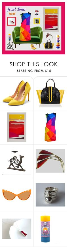 Jewel Tones by anna-ragland on Polyvore featuring Moschino, Rupert Sanderson, Braccialini, Tom Ford, NOVICA and vintage
