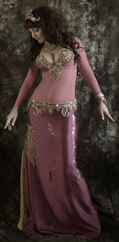 Vintage-Inspired Silk Fuchsia Belly Dance Costume bra and belt any size (Option: embroidered skirt, bracelet, head or neck piece, net body)