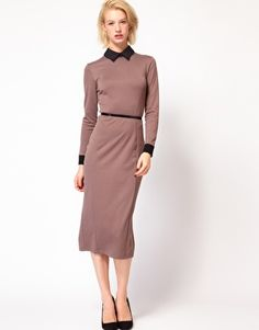 Enlarge ASOS Pencil Dress With Collar And 3/4 Sleeve