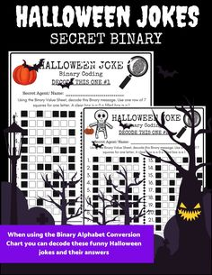 Perfect for introducing binary coding to your students. Fun classroom activities for Halloween. Fun Classroom Activities, Teaching Activities, Fun Learning, Teaching Ideas, Stem Activities, Classroom Ideas, Halloween Jokes, Halloween Science, Technology Lessons