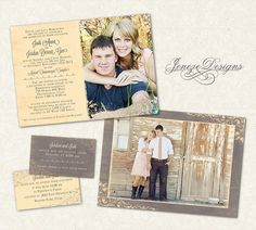 Wedding Invitation Template - Photographers and Photoshop users only - Item WA075 on Etsy, $10.00