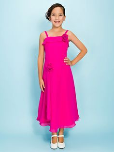 d885eb263ef Tea-length Chiffon Junior Bridesmaid Dress - Fuchsia Sheath Column   A-line  Spaghetti Straps