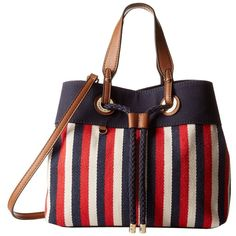 Tommy Hilfiger Corinne - Canvas Shopper (Navy/Red) Handbags ($60) ❤ liked on Polyvore featuring bags, handbags, tote bags, multi, shopping tote bags, canvas totes, red tote bag, handbag tote and striped totes
